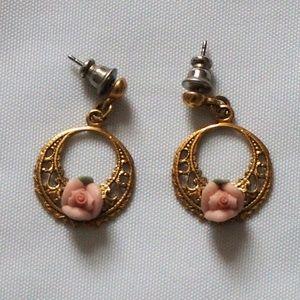 Lovely Pink Rose Porcelain Filigree Hoop Earrings